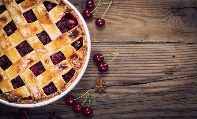 Sweet homemade cherry pie