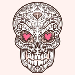 Cute mexican sugar skull with hearts and diamond, vector illustration