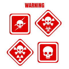 Red and white warning or danger icons with skulls. Vector illustration
