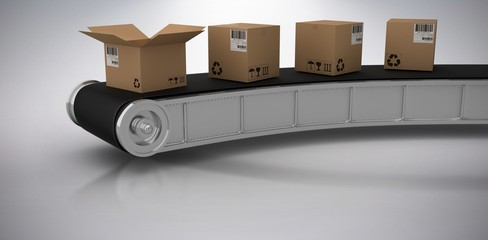 Composite 3d image of brown cardboard boxes on production line