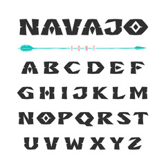 Navajo. Font in the style of ornaments of Indian tribes