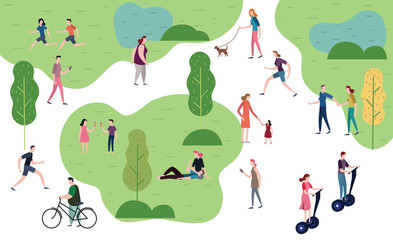 People in the park. People character vector illustration flat design.