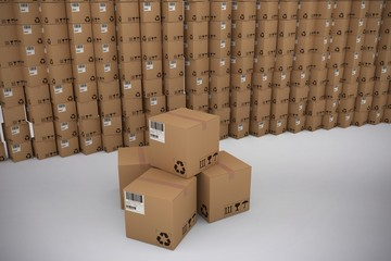 Composite image of pile of cardboard boxes