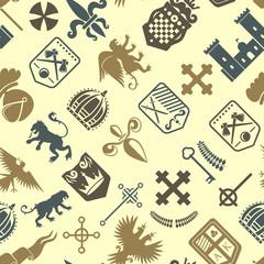 Heraldic lion royal crest medieval knight silhouette vintage seamless pattern king symbol heraldry vector illustration