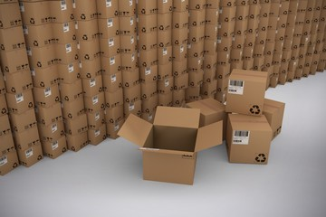 Composite image of stack of brown cardboard boxes