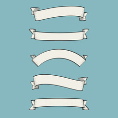 Set of old vintage ribbon banners and drawing in engraving style Vector Illustration