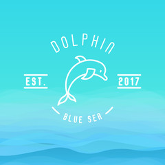 Logo with thin line icon of dolphin jumping above waves for branding identity of hotels, tourist business, spa, beach service, healthcare, holidays, resorts or hotel by the ocean.