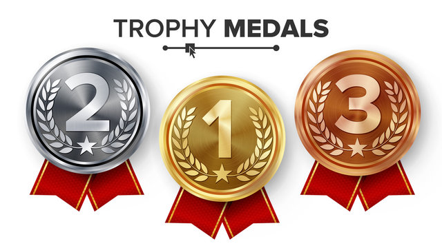 Gold, Silver, Bronze Medals Set Vector. Metal Realistic Badge With First, Second, Third Placement Achievement. Round Label With Red Ribbon. Winner Prize. Competition Game Golden, Silver, Bronze Trophy