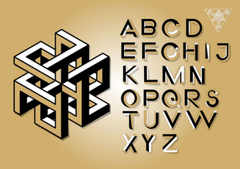 Impossible Geometry letters. Impossible shape font.