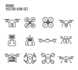 Drone Quadrocopters and remote control Icon Vector Set
