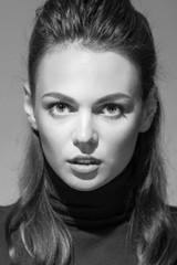 Black and white photo of sensual woman. Retro portraite