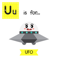 Letter U cute children colorful transportations alphabet tracing flashcard of UFO for kids learning English vocabulary Vector Illustration.