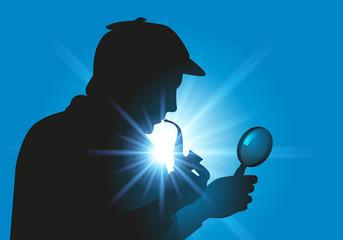 Sherlock Holmes - détective - enquête - symbole -personnage - loupe