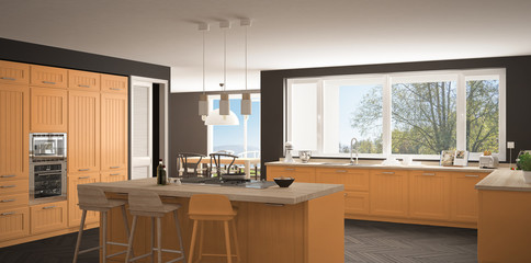 Modern scandinavia kitchen with big windows, panorama classic gray and orange interior design
