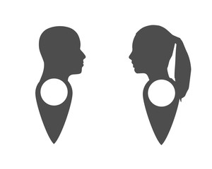 Face silhouette in profile on map pin. Location pointer isolated on a white background. Conceptual vector illustration.