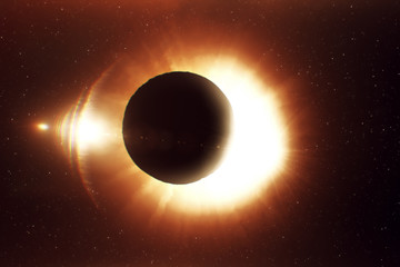 A beautiful solar eclipse, a realistic illustration