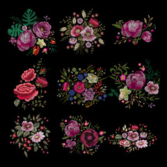 Traditional folk stylish stylish floral embroidery on the black background. Sketch for printing on clothing, fabric, masks, accessories and design. Trend vector