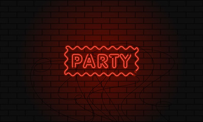 Neon sign party in wave area on brick wall background.