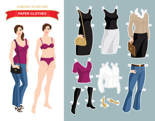 Paper doll with clothes for office and holiday. Body template. Vector illustration of brunette woman in blue jeans isolated on white background