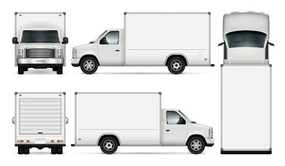 Van template for car branding and advertising. Isolated freight delivery truck set on white. All layers and groups well organized for easy editing and recolor. View from side, front, back, top.