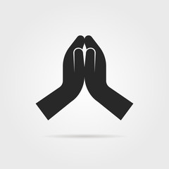 black praying hands icon