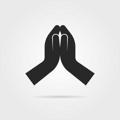 black praying hands icon