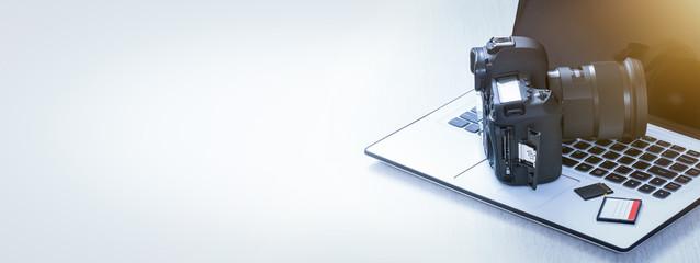 Modern digital DSLR camera. Photography concept.