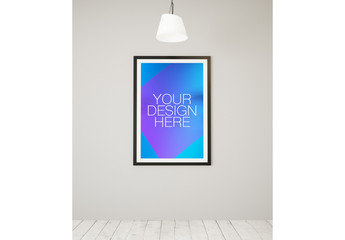 Large Framed Poster in White Room Mockup 2