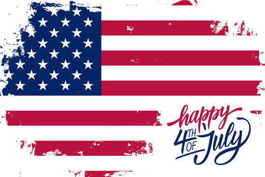 Happy 4th of July USA Independence Day greeting card with brush stroke background in american national flag colors and hand lettering text design. Vector illustration.