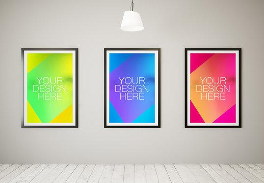 3 Large Framed Posters in White Room Mockup 1