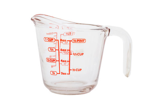 Empty measuring cup isolated on white background  with clipping path.