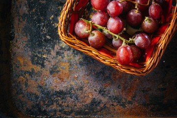 Top view of basket filled by grapes