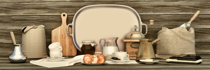 Cup of coffee with chocolate on wooden background. Coffee panorama.