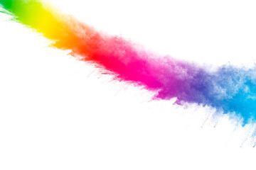 abstract powder splatted on white background,Freeze motion of color powder exploding