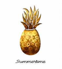 Summer gold pineapple design for vacation season