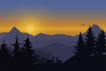 Vector illustration of a mountain landscape with deer in a forest under the sky with dawn