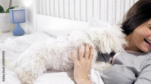 Dog licking woman in bed in face funny closeup Stock