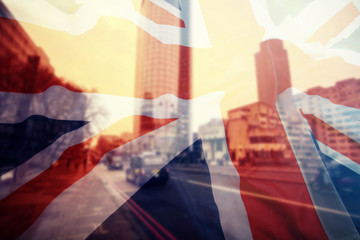 UK flag and financial buildings