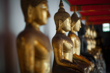 Row of gilded Buddhas, temple statues from Thailand