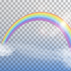 Rainbow with clouds on transparent background isolated. vector illustration