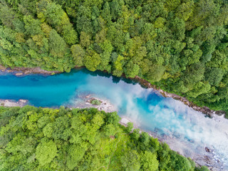 Aerial view. Beautiful turquoise river