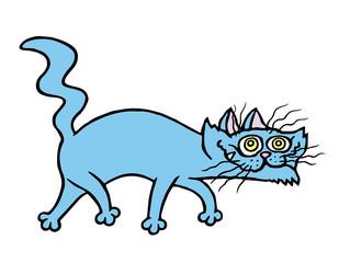 Cartoon evil cat preys. Vector illustration.