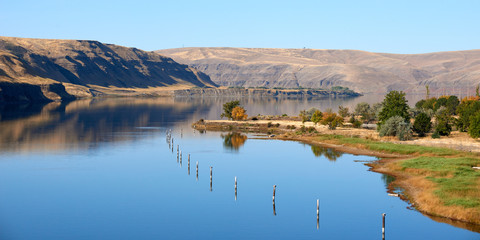 Panoramic view of the big Snake river in the gorge. Eastern Washington state.