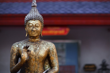 Bronze gilded Buddha, temple statue from Thailand