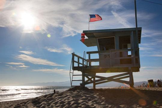 Lifeguard station on Los Angeles beach