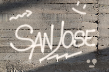San Jose Word Graffiti Painted on Wall