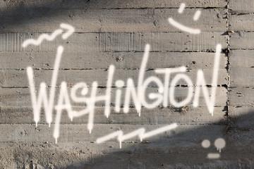 Washington Word Graffiti Painted on Wall