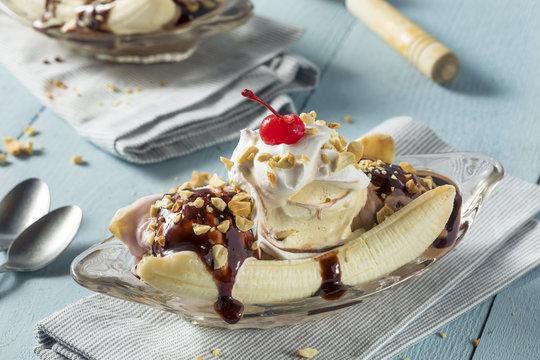 Sweet Homemade Banana Split Sundae