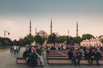 View of the famous Blue Mosque (Sultanahmet Camii). Istanbul. Turkey.Retro style filtered photo.