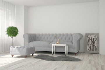 White modern room with sofa. Scandinavian interior design. 3D illustration